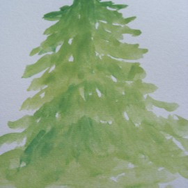 an attempt to paint pine tree