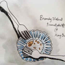 brandy walnut prune cake mary grace watercolor painting_harmonythoughts