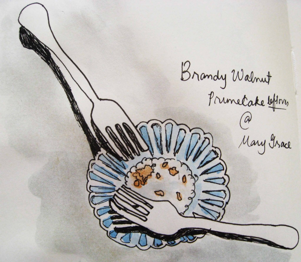 brandy walnut prune cake mary grace watercolor painting
