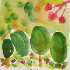 Spring watercolor  harmony thoughts