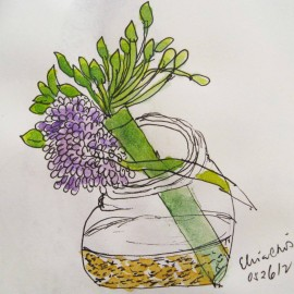 plant on bottle watercolor painting