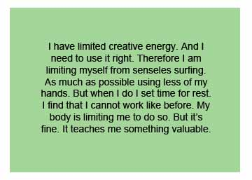 Use my energy wisely1 July 14: Limited Creative Energy