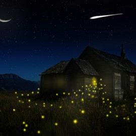 matte painting night scene of house