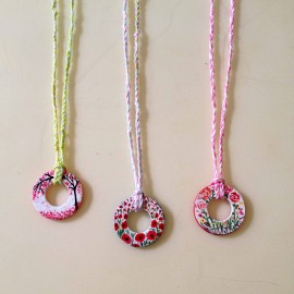hand painted washer necklaces