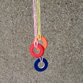 multi colored washer necklace