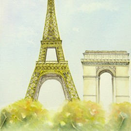 Eiffel Tower and Arc De Triomphe