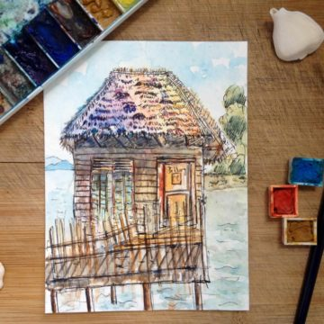 Stilt Hut on Sea