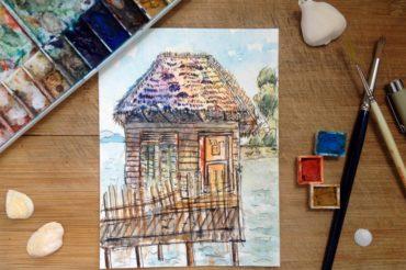 Stilt Hut on Sea
