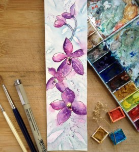 orchid watercolor pen_harmonythoughts