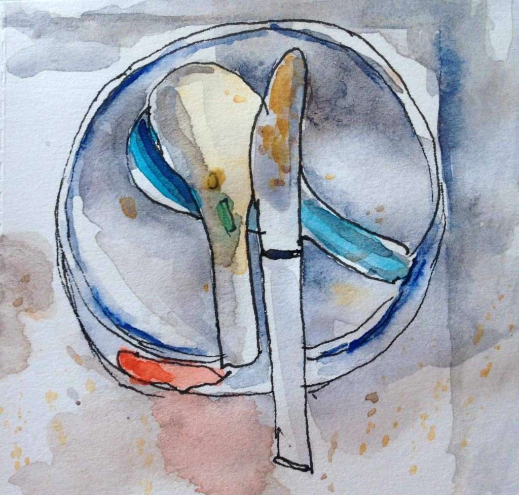 unwashed dishes watercolor