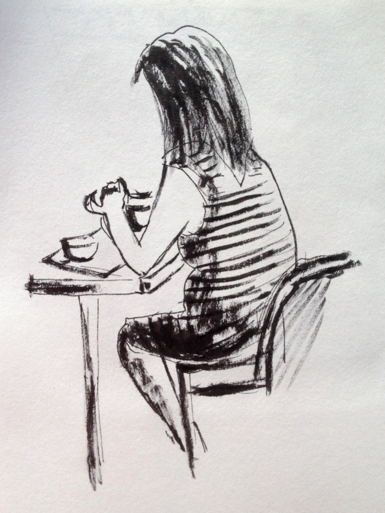 lady eating in ink and sketchbook