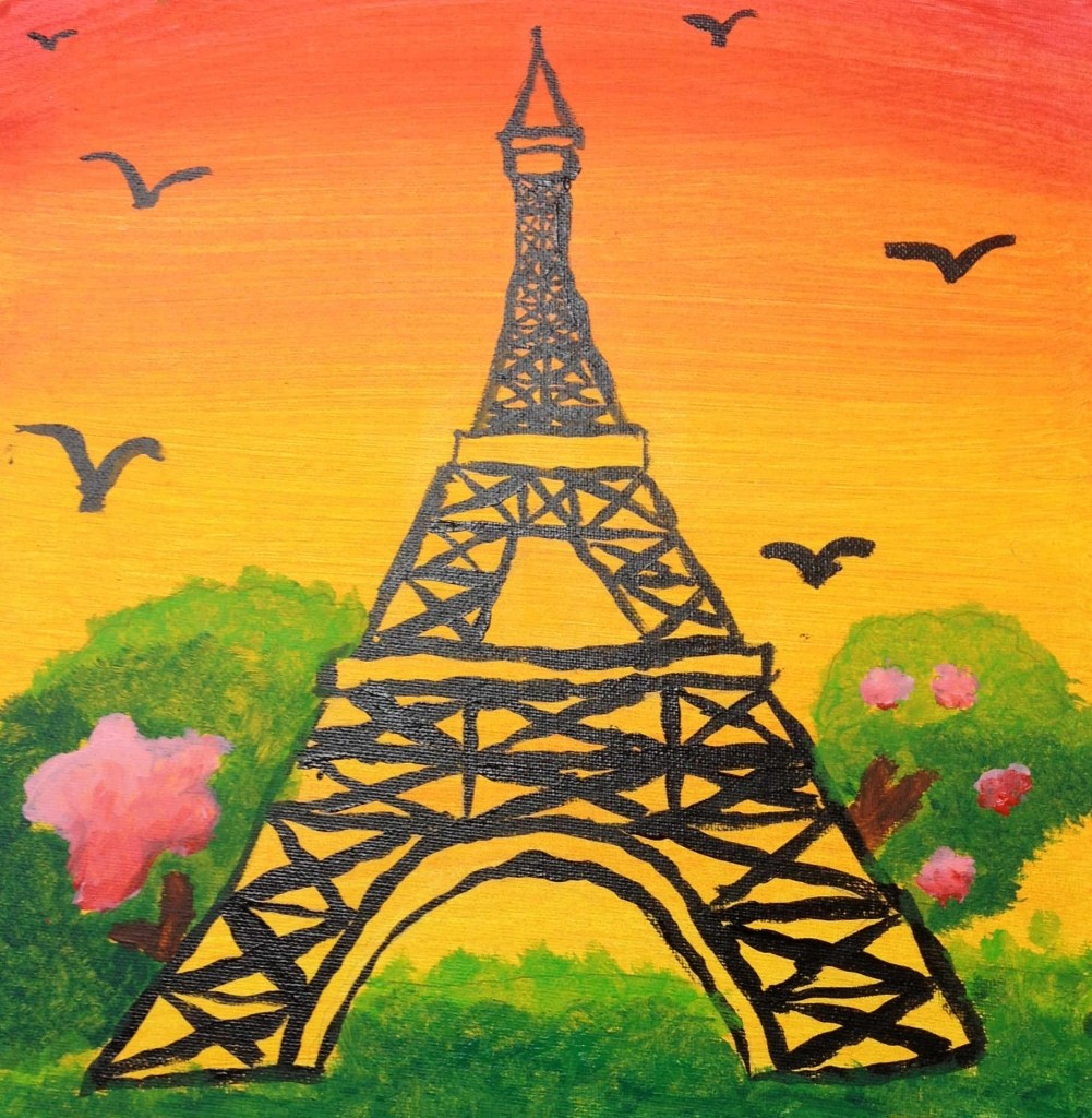 Eiffel Tower Acrylic Painting (photo courtesy of jay jay jolly)