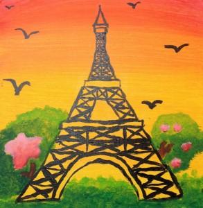 Eiffel Tower Acrylic Painting (photo courtesy of jay jay jolly)